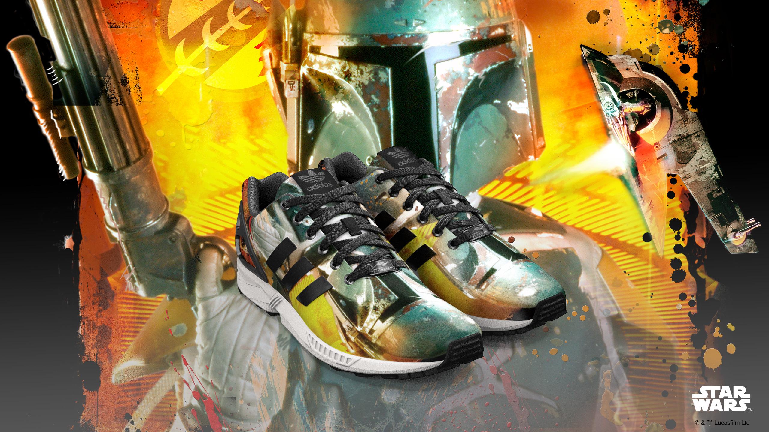 Publicity Photo for Adidas mi ZX Flux Boba Fett Shoes (2015)