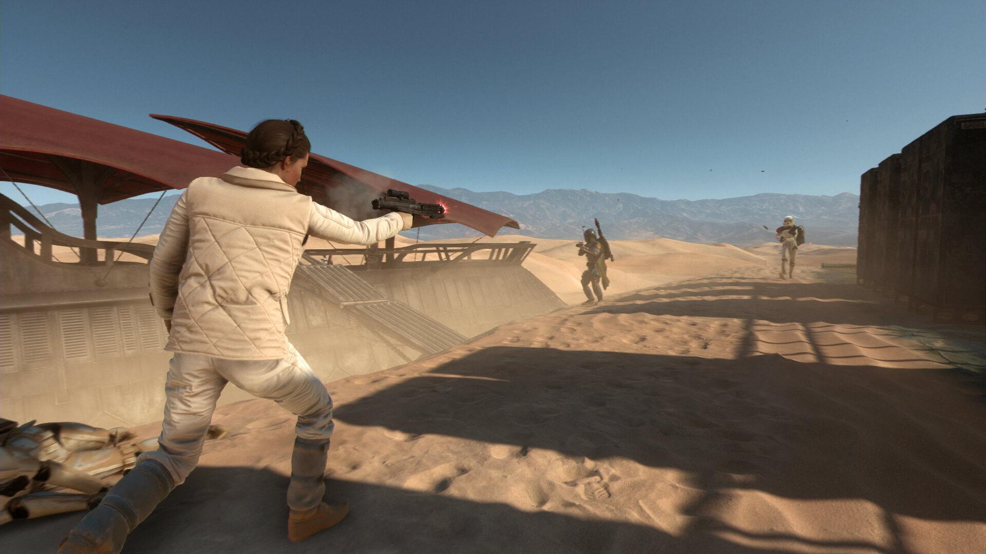 Star Wars Battlefront, Princess Leia vs. Boba Fett Gameplay