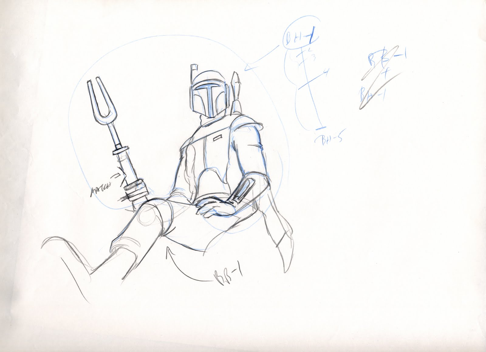 """Holiday Special"" Rough First Pass Poses for Boba Fett by John Celestri"