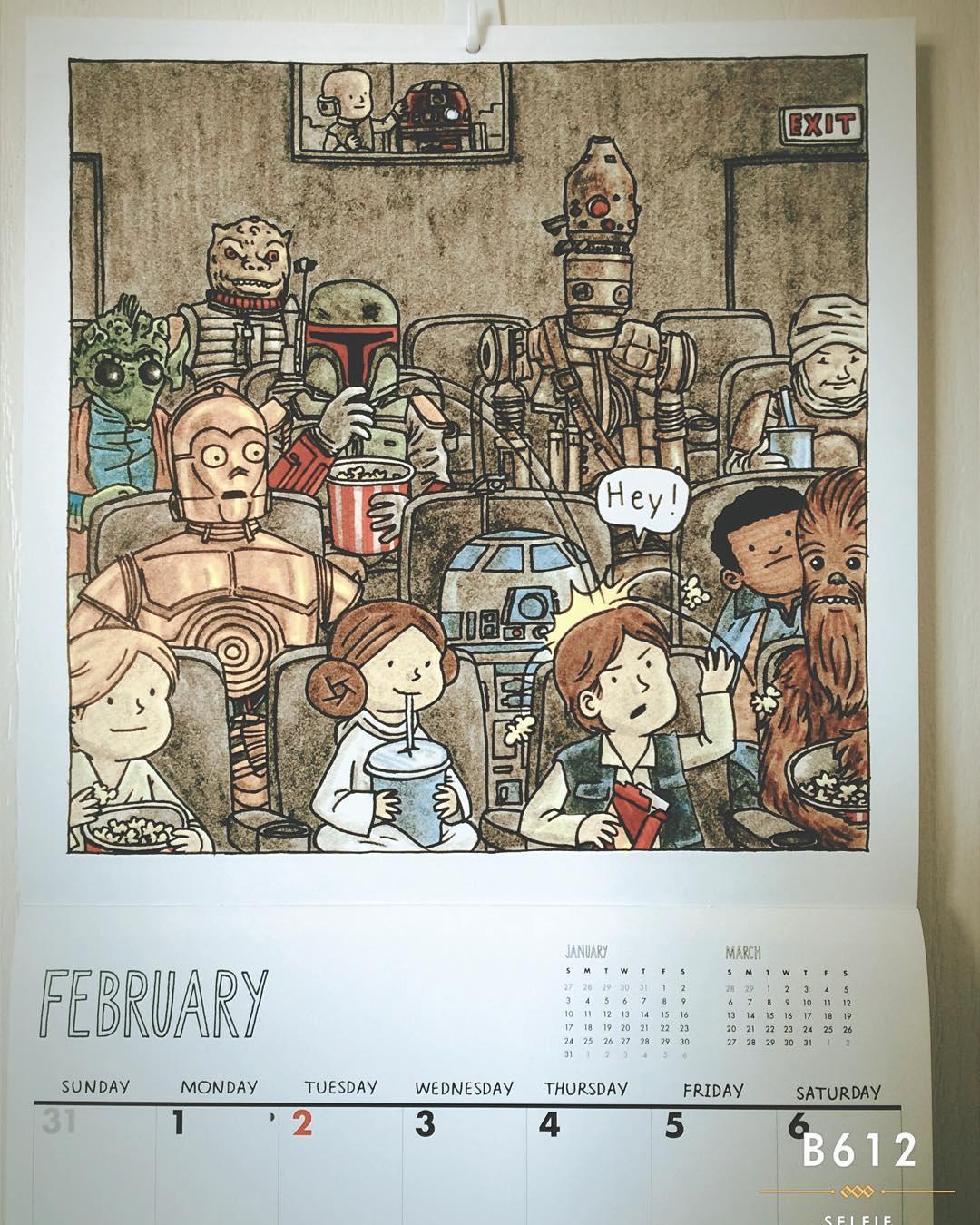 """Darth Vader And Friends"" 2016 Wall Calendar, February"