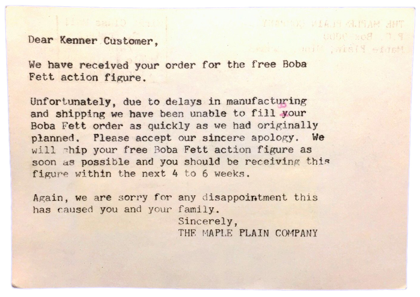"Kenner ""Free Boba Fett"" Figure Apology Postcard (1979)"
