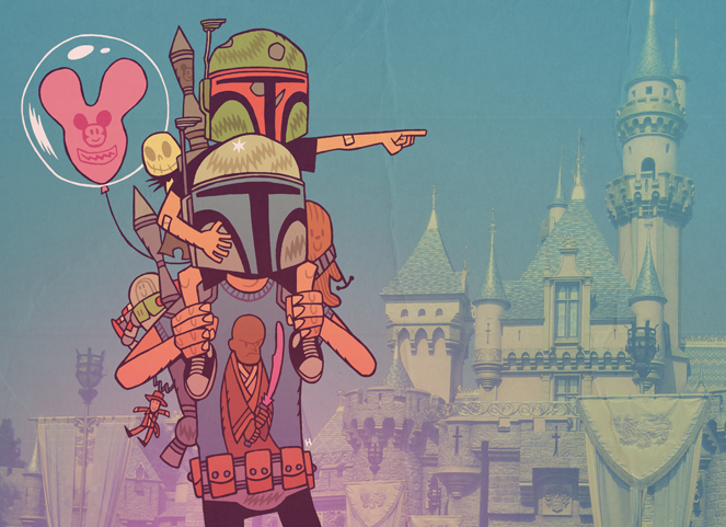 """Lil' Boba Fett and Daddy Jango Fett at Disneyland"" by Dan Hipp"