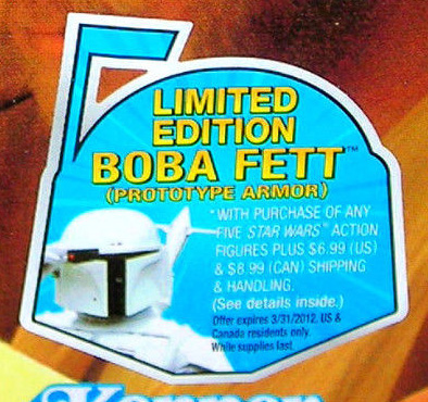 """""""Limited Edition Boba Fett (Prototype Armor)"""" Offer on Card Front"""