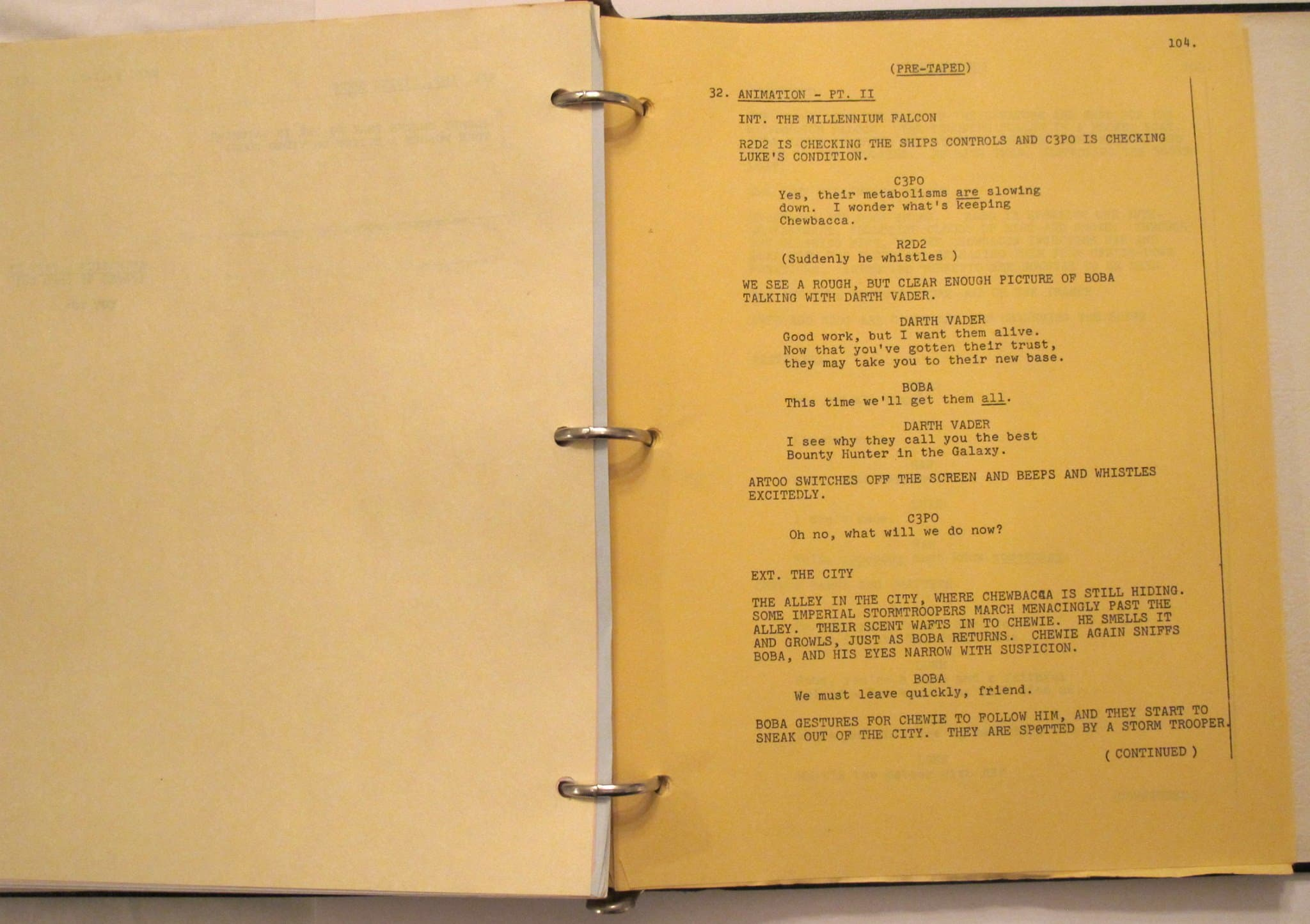 "Excerpt of ""Star Wars Holiday Special"" Script, Fett Excerpt"