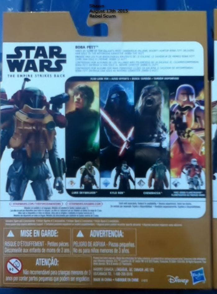 "Hasbro ""The Force Awakens"" Packaging Boba Fett, Back (2015)"