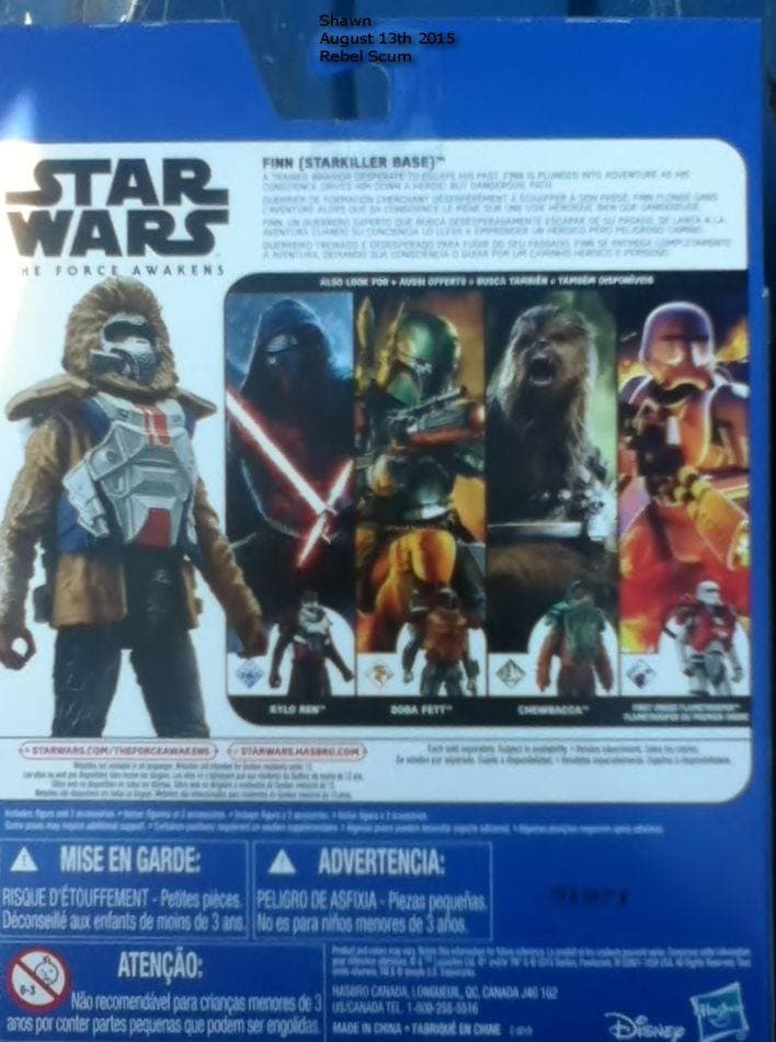 "Hasbro ""The Force Awakens"" Packaging, Back with Boba Fett (2015)"