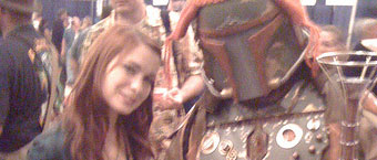 "Felicia Day (""Dr. Horrible's Sing-a-long Blog"") with Steampunk Boba Fett"