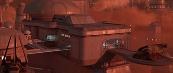 "Slave I on the Bespin ""Administrator's Palace"" Map in ""Star Wars Battlefront"""