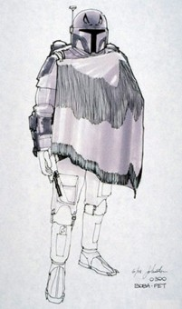 An original sketch by Joe Johnston of Boba Fett in a Western-style cape, circa 1978.