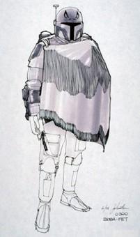 An original sketch by Joe Johnston of Boba Fett in a Western-style cape, circa 1978.