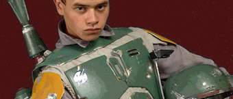 Actor Daniel Logan in a set of fan-made Boba Fett armor