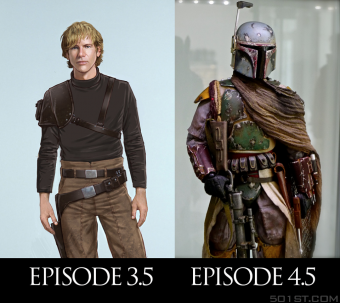 Origin stories for Han Solo and Boba Fett would be between episodes 3, 4, and 5 respectively. Fan made graphic via 501st.com via Chris Bartlette. Designer unknown.