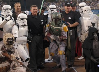 Boba Fett threw the first pitch tonight. Photo Credit: Alex Horwitch / MLB.com Real-Time Correspondent.
