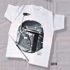 Black and White Boba Fett Cotton T-Shirt