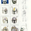 Early Boba Fett Helmet Sketches by Ralph McQuarrie