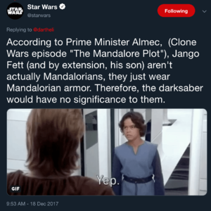 Official Star Wars account on Twitter