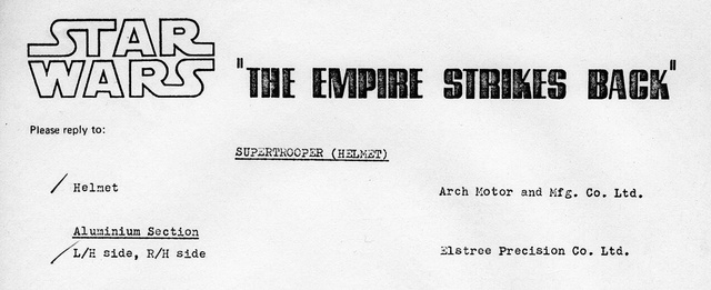 Vintage document identifying Elstree Precision as the vendor for the helmet ears