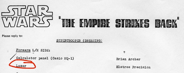 Vintage document identifying Elstree Precision as the vendor for the gauntlet laser